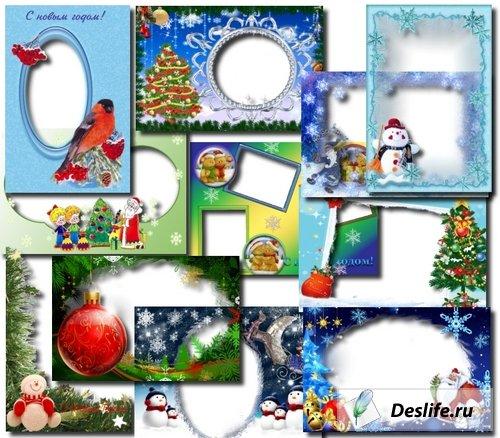 Подборка из зимних и новогодних рамок для фотошопа