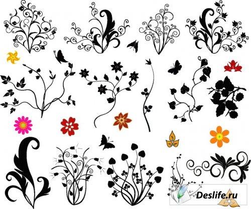 Ornamental floral design elements