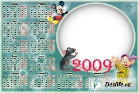 Календарь на 2009 год с героями мультфильмов