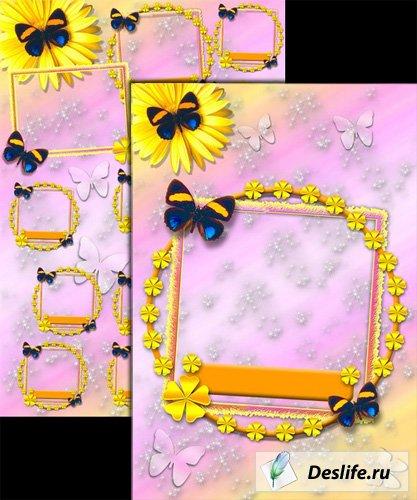 Виньетка с бабочками + портрет