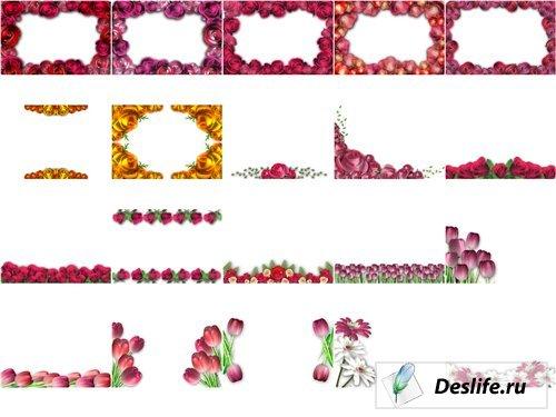 Рамки из векторных цветов