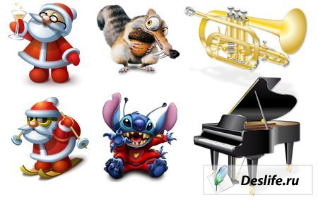 Иконки Дед мороз + Мульт герои + Музыкальные инструменты