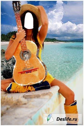 Девушка у моря PSD