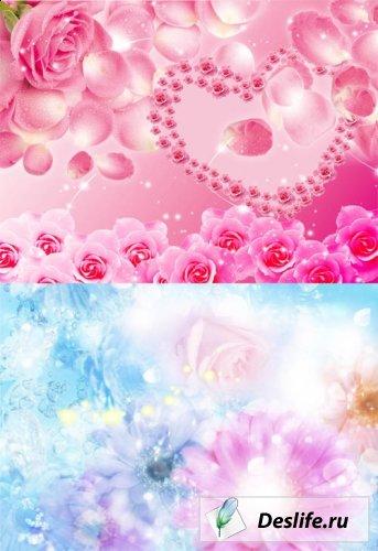 Многослойные цветочные фоны