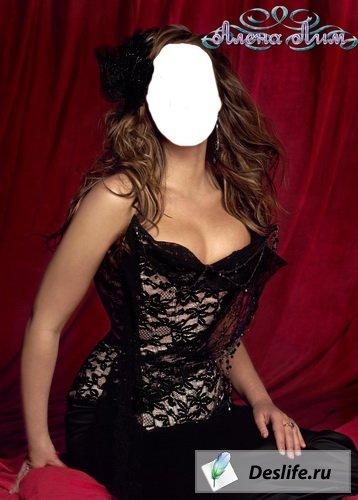 Девушка в чёрном - Костюм для фотошоп