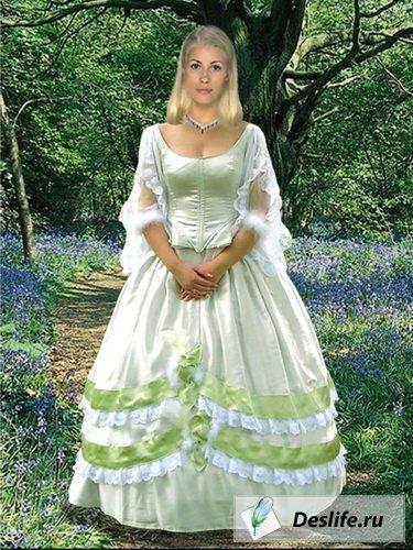 Девушка в салатовом платье - Костюм для фотошоп