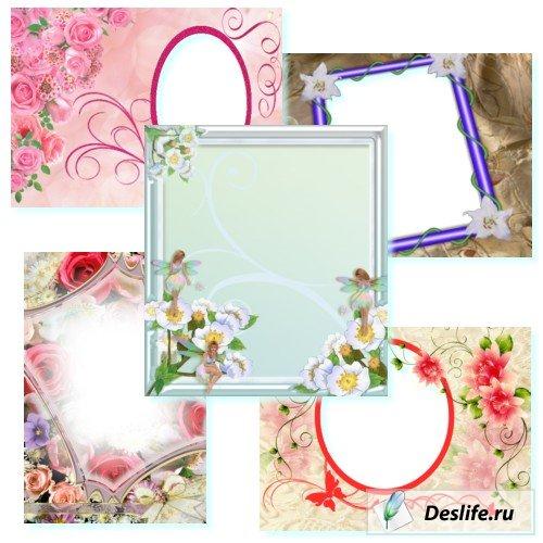 Цветочная нежность - Рамочки для фотошоп