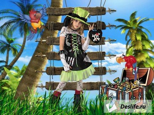 Девочка-пиратка - Костюм для фотошоп