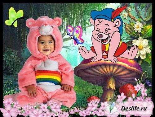 Розовый мишка - Костюм для фотошоп