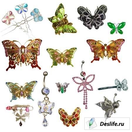 Бабочки из драгоценностей - Клипарт