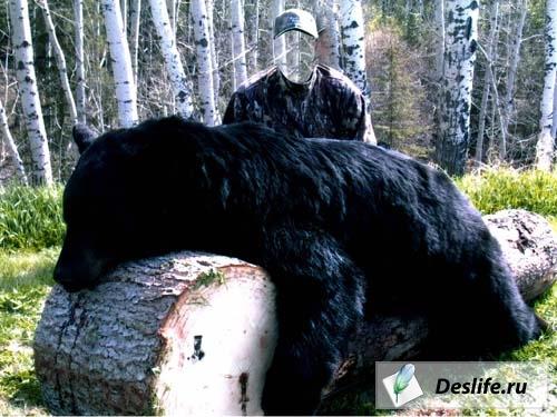 Шаблон для фотошопа - Охотник с медведем