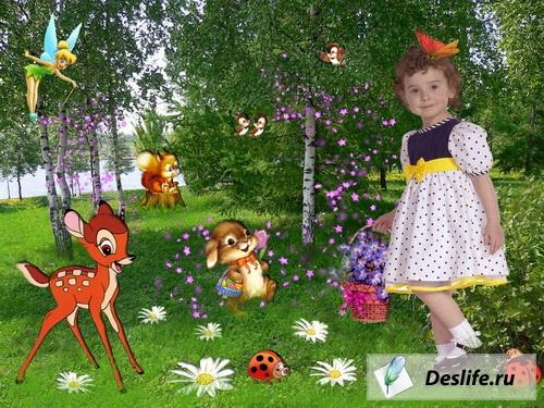 Алиса в стране чудес - Шаблон для фотошоп