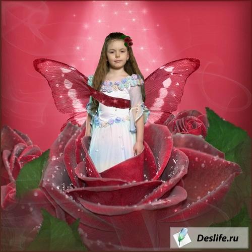 Девочка в розе - Шаблон для фотошоп