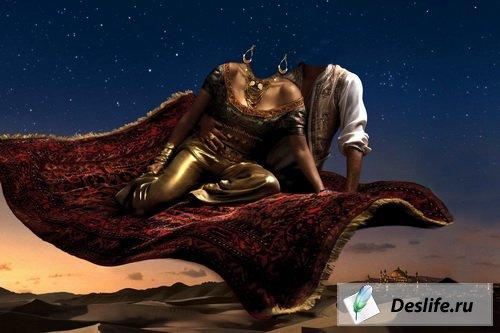 Алладин и Жасмин на ковре-самолете - Костюм для фотошоп