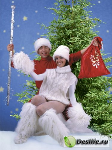 Дед Мороз и Снегурочка - Костюм для фотошоп