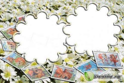 Белогривые лошадки - Рамки для фотошоп