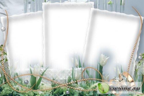 Красивая и нежная свадебная рамка