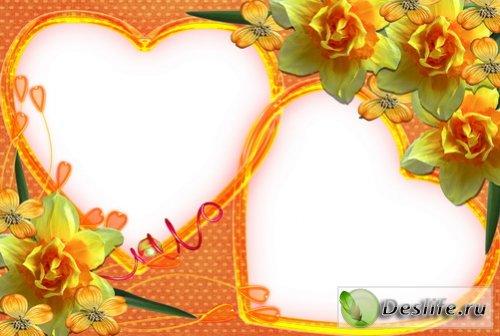 Два сердечка - Рамка для фотошоп