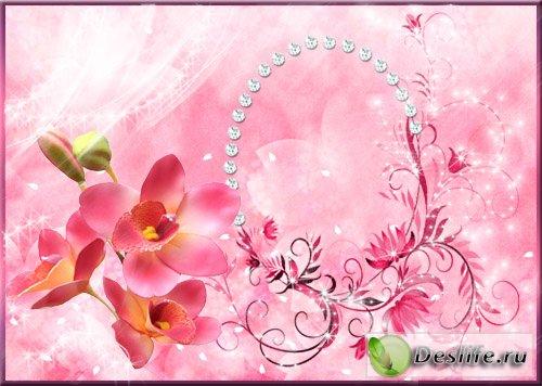 Розовая цветочная рамка для фотошоп