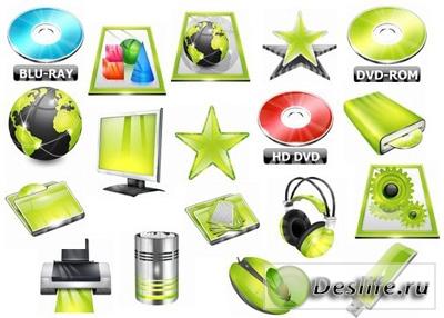 Коллекция ярких зелёных иконок