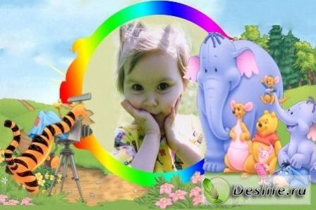 Рамка для фотошопа – Голубой слон