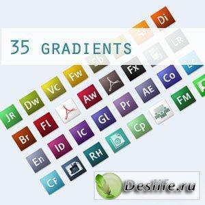 35 градиентов для Фотошопа в стиле продуктов Adobe