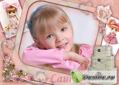 Детская рамочка в розовых тонах  для маленьких модниц
