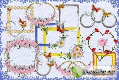 Элементы рамок с цветами и бабочками - Клипарт