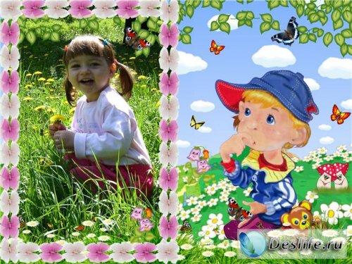 На прогулке - Детская рамка для фотошопа