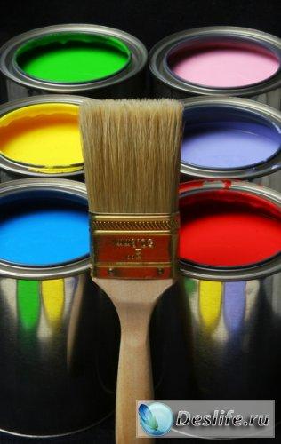 Краски и кисточки - Растровый клипарт