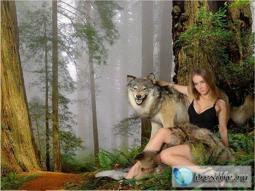 Девушка и волк - Костюм для фотошопа