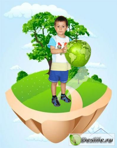 Мир в моих руках - Детский шаблон для фотошопа