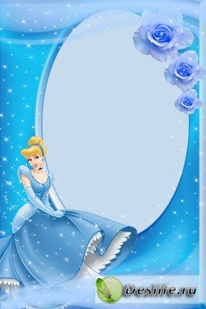 Принцесса в голубом платье - Рамка для фотошопа