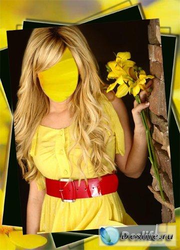 Блондинка в жёлтом - Костюм для фотошопа