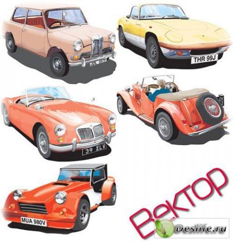 Коллекция Ретро автомобилей в векторе