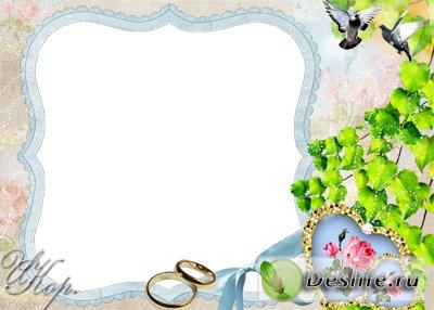 Свадебная с розами - Рамка для фотошопа