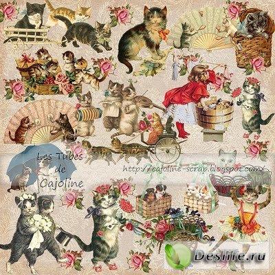 Скрап-набор – 18 векторных кошек