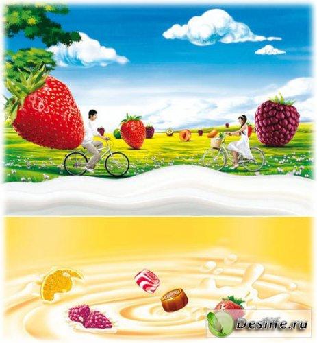 Йогурт, молоко, фрукты - PSD шаблоны для фотошопа