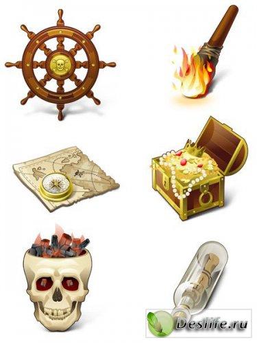 Пираты, карты, сундуки, сокровища - пиратский набор иконок!