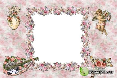 Рамка для фотошопа – Розы ангела