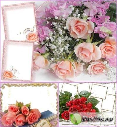 Красивые рамки для фото - С розами