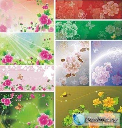 Векторные изображения-заливки - Цветочки, бабочки