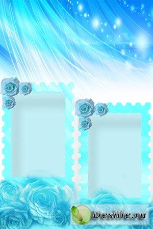 Голубые Розы - Рамка для фотошопа