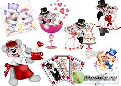 Клипарт для фотошопа - Свадебные мышки
