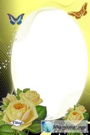 Жёлтые розы - Рамка для фотошопа