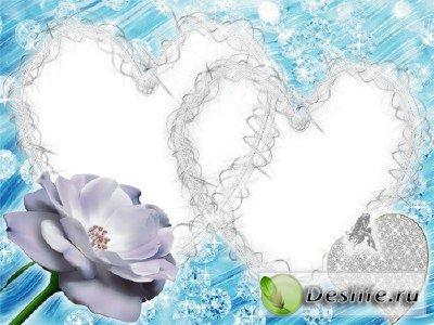 Голубая с сердечками - Рамка для фотошопа