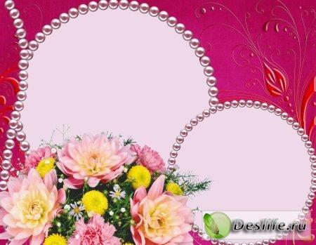 Розовая с цветами - Рамка для фотошопа
