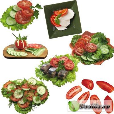 Салаты с помидорами - Растровый клипарт
