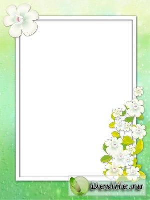 C белыми цветочками - Рамка для фотошопа