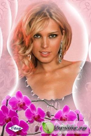 Розовая орхидея - Рамка для фотошопа